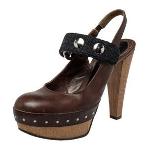 Marni Brown/Black Fabric And Leather Mary Jane Buckle Strap Pumps Size 40