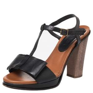 Marni Black Leather Bow Detail T Strap Sandals Size 38