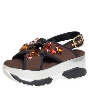 Marni Brown Fabric Jewel Embellished Crisscross Platform Sandals Size 39