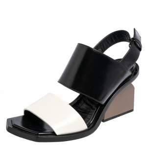 Marni Black/White Leather Block Heel Ankle Strap Sandals Size 37.5