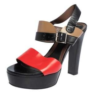 Marni Tricolor Leather Platform Ankle Strap Sandals Size 40