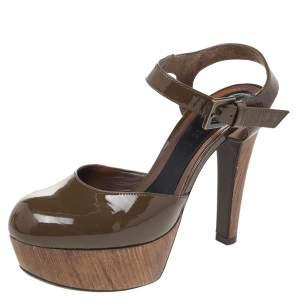 Marni Olive Green Patent Leather Platform Ankle Strap Sandals Size 38