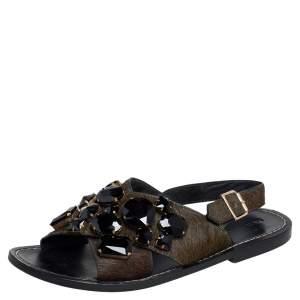 Marni Green Calf Hair Jewel Embellished Slingback Flat Sandals Size 39