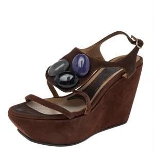 Marni Brown Suede Embellished Wedge Platform Ankle Strap Sandals Size 36