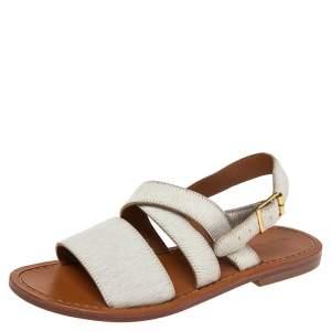 Marni White Calf Hair Flat Sandals Size 36