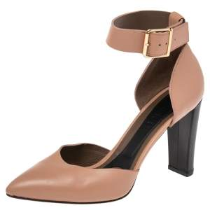Marni Beige Leather Block Heel Ankle Strap  Sandals Size 38