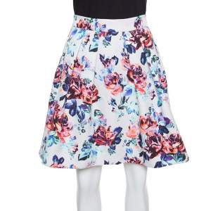 Mary Katrantzou Floral Printed Jacquard Pleated Algernon Mini Skirt M