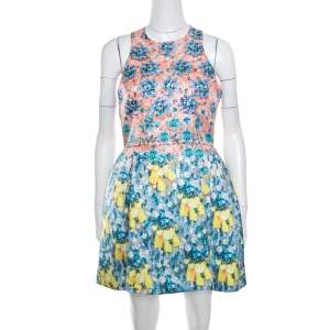 Mary Katrantzou Bejeweled Bow Print Silverfloss Ohara Cocktail Dress M
