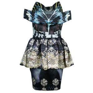 Mary Katrantzou Strapless Peplum Printed Dress M