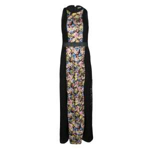 Mary Katrantzou Black Cotton Eyelet Embroidered Floral Printed Alyss Dress M