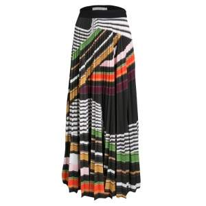 Mary Katrantzou Multicolor Graphic Viola Striped Plisse Pelar Skirt M