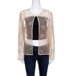 Mary Katrantzou Beige Floral Glitter Embellished Tulle Jacket M