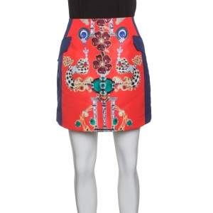 Mary Katrantzou Multicolor Printed Kalion Double Satin Mini Skirt M