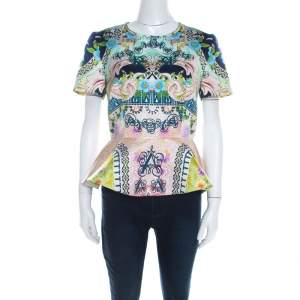 Mary Katrantzou Multicolor Printed Satin Peplum Top M