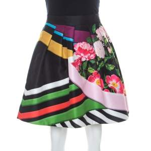 Mary Katrantzou Black Floral & Stripe Print Short Algernon Skirt S