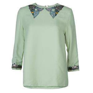 Mary Katrantzou Green Embellished Top M