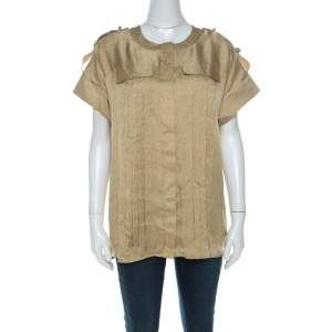 Matthew Williamson Gold Silk Pin-Tuck Detail Top M
