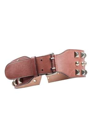 Matthew Williamson Brown Leather Studded Waist Belt 85CM