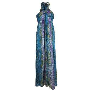 Matthew Williamson Escape Multicolor Printed Halter Neck Dress L