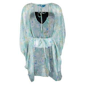 Mathew Williamson Multicolor Blossom Snake Mousseline Cold Shoulder Kaftan Silk Top S