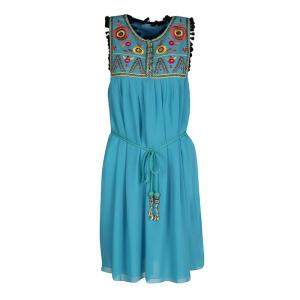 Matthew Williamson Escape Blue Floral Embroidered Silk Pom Pom Trim Sleeveless Dress M