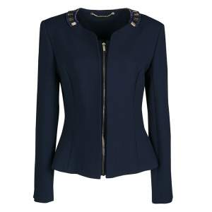 Matthew Williamson Navy Blue Embellished Neck Detail Zip Front Jacket M
