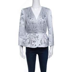 Matthew Williamson Grey Floral Printed Tulle Layered Box Jacket M