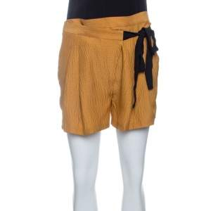 Matthew Williamson Mustard Yellow Textured Tie Detail Faux Wrap Shorts S
