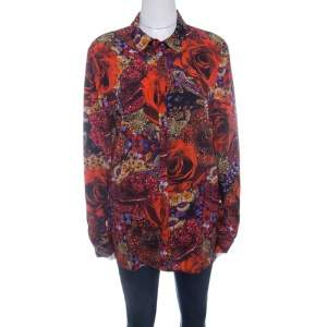 Matthew Williamson Red Precious Rose and Jewel Print Long Sleeve Blouse L