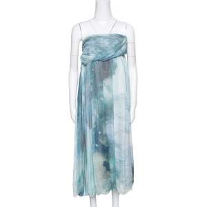 Matthew Williamson Printed Silk Draped Strapless Dress S