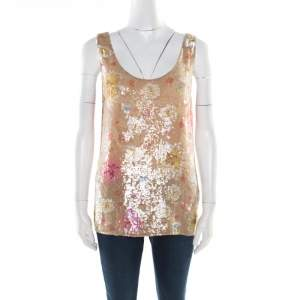 Matthew Williamson Beige Silk Sequin Embellished Tank Top S