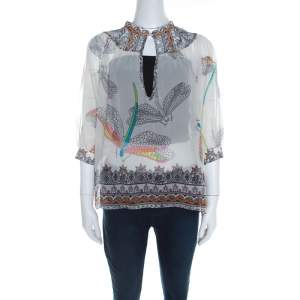 Matthew Williamson Off White Dragonfly Printed Silk Chiffon Sheer Blouse M