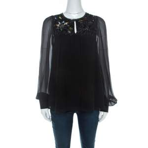 Matthew Williamson Black Silk Sequin Embellished Long Sleeve Top S