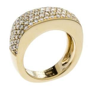 Mauboussin Pave Diamonds 18k Yellow Gold Cocktail Band Ring Size 54