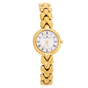 Maurice Lacroix White Dial Yellow Gold Plated 59608 Women's Wristwatch 22 mm