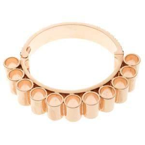Mawi Retrospective Embedded Crystal Rose Gold Plated Tube Cuff Bracelet 19cm