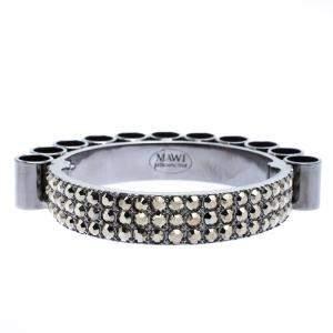 Mawi Retrospective Embedded Crystal Hematite Plated Tube Cuff Bracelet 19cm