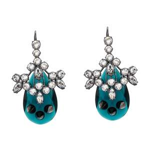 Mawi Crystal Embellished Spike Motif Black Tone Long Drop Earrings