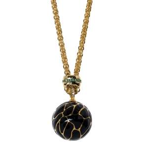 Mawi Panther Print Alloy Enamel Crystal Gold Tone Chunky Pendant Necklace
