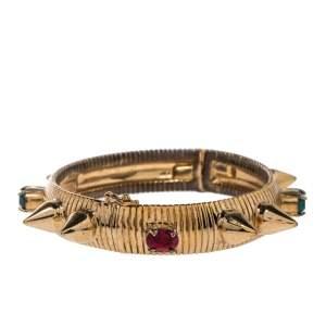 Mawi Multicolor Crystal & Spike Embedded Cuff Bracelet