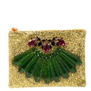 Mawi Gold Glitter Acrylic Perspex Clutch
