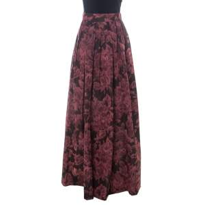 Max Mara Burgundy Printed Silk Maxi Skirt S