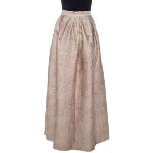 Max Mara Cream Lurex Floral Pattern Jacquard Long Skirt L