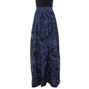 Max Mara Blue Printed Silk Maxi Skirt L