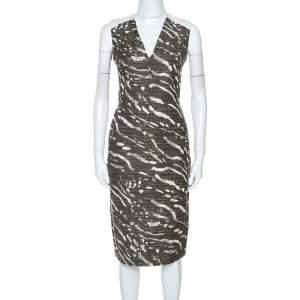 Max Mara Bicolor Patterned Knit Sleeveless Midi Dress M