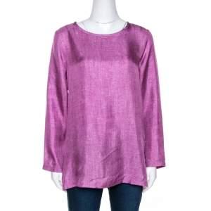 Max Mara Pink Denim Print Silk Long Sleeve Blouse S