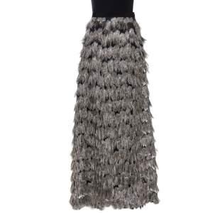 Max Mara Grey Metallic Jacquard Tinsel Fringed Maxi Skirt M