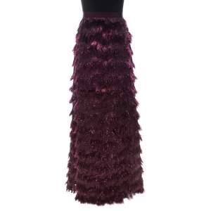 Max Mara Burgundy Metallic Jacquard Tinsel Fringed Maxi Skirt M