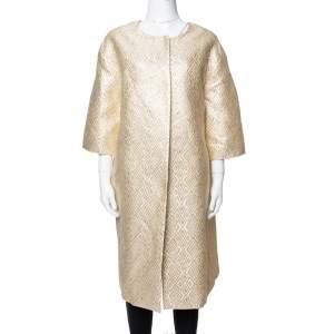 Max Mara Pale Yellow Lurex Jacquard Faenza Coat M