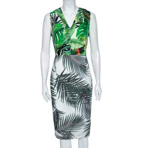 Max Mara Green Tropical Printed Cotton Pleated Detailed Knee-Length Dress L